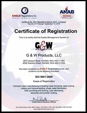 ISO 9001:2008 Certificate of Registration - G&W Products